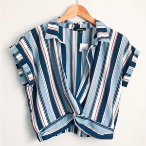 NWT Ambiance Cropped Striped Blouse